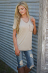 On the Daily Top - cute beige v-neck short sleeve pocket top, front view, Closet Candy Boutique