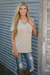 On the Daily Top - cute beige v-neck short sleeve pocket top, outfit view, Closet Candy Boutique