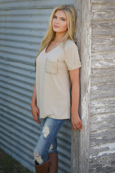 On the Daily Top - cute beige v-neck short sleeve pocket top, side view, Closet Candy Boutique