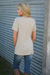 On the Daily Top - cute beige v-neck short sleeve pocket top, back view, Closet Candy Boutique