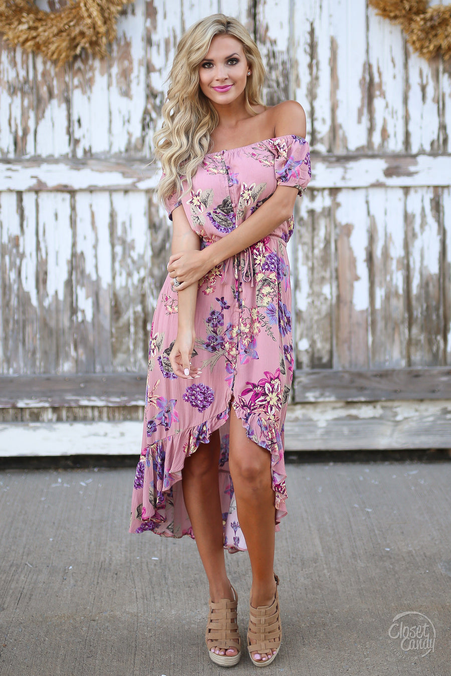 Hold Me Tight Dress womens floral maxi high low dress off shoulder summer closet candy boutique