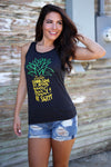 Be A Pineapple Tank Top - black pineapple graphic tank top, front view, Closet Candy Boutique