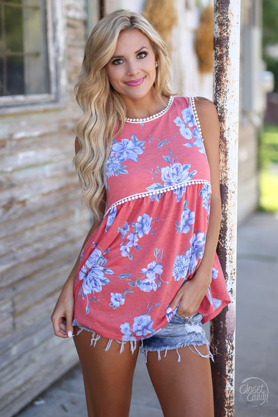 Wish You Were Here Top - cute coral floral print tank top, front view, Closet Candy Boutique