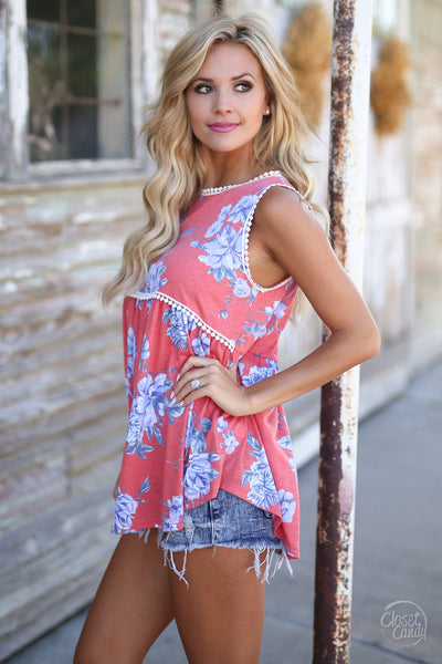 Wish You Were Here Top - cute coral floral print tank top, side view, Closet Candy Boutique