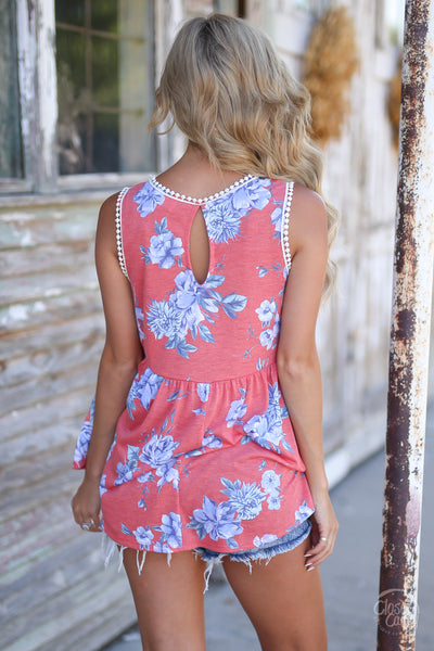 Wish You Were Here Top - cute coral floral print tank top, back view, Closet Candy Boutique