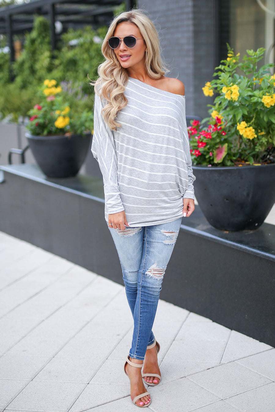 Not Even Trying Top - Heather Grey women's long sleeve off shoulder striped tunic close candy boutique