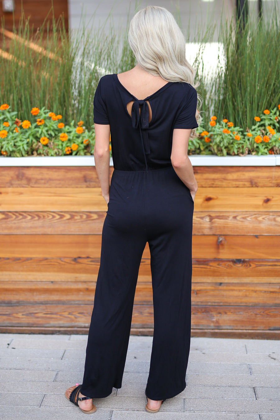 A Little Something Jumper - Black women's black jumpsuit with pockets and tie back closet candy boutique