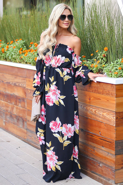 Back To You Maxi Dress - Black womens long sleeve maxi dress closet candy bouitique