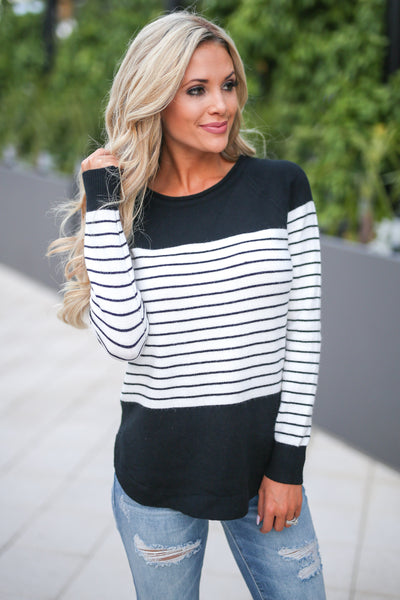 I've Been Waiting Top - Black and white women's trendy long sleeve stripe color block sweater closet candy boutique 1
