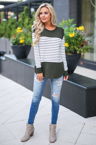 I've Been Waiting Top - Olive women's trendy long sleeve stripe color block sweater closet candy boutique 2