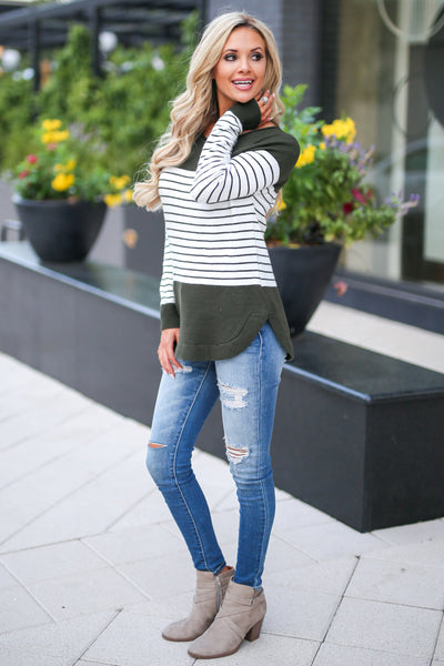 I've Been Waiting Top - Olive women's trendy long sleeve stripe color block sweater closet candy boutique 3