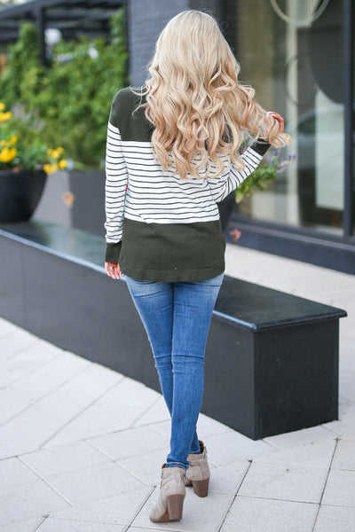 I've Been Waiting Top - Olive women's trendy long sleeve stripe color block sweater closet candy boutique 4