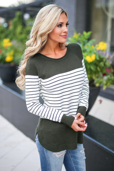 I've Been Waiting Top - Olive women's trendy long sleeve stripe color block sweater closet candy boutique 1