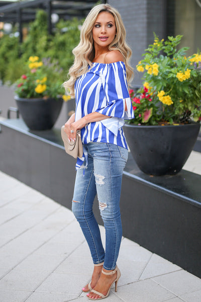 Carpe Diem Top - Blue womens trendy off shoulder tie front striped shirt closet candy boutique
