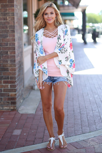 Wherever You Go Kimono - cute floral kimono for spring and summer, front view, Closet Candy Boutique