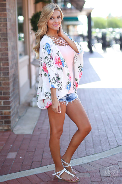 Wherever You Go Kimono - cute floral kimono for spring and summer, side, Closet Candy Boutique