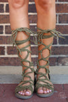 Indian Summer Lace-up Sandals - trendy olive gladiator sandals, front, Closet Candy Boutique