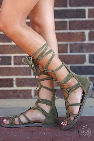 Indian Summer Lace-up Sandals - trendy olive gladiator sandals, side, Closet Candy Boutique