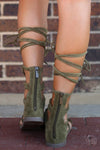 Indian Summer Lace-up Sandals - trendy olive gladiator sandals, back, Closet Candy Boutique