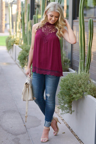 Be Confident Sleeveless Crochet Top - Wine women's sleeveless crochet shirt closet candy boutique