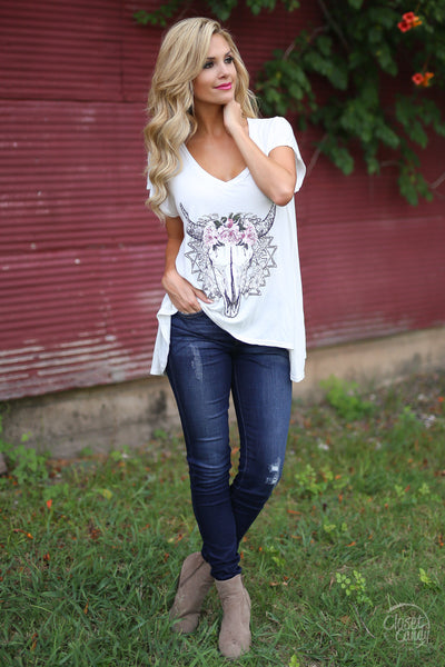 Stay Wild Top - Ivory boho oversized graphic bull womens tee closet candy boutique