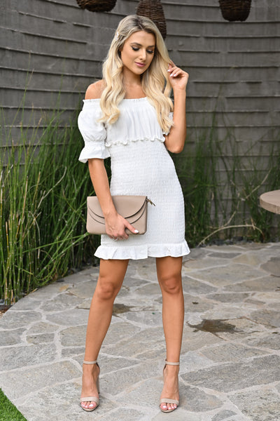 Same You Mini Dress - Ivory womens short off the shoulder smocked skirt white dress closet candy front