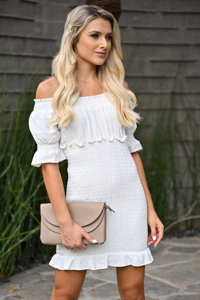 Same You Mini Dress - Ivory womens short off the shoulder smocked skirt white dress closet candy close