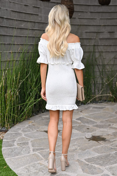 Same You Mini Dress - Ivory womens short off the shoulder smocked skirt white dress closet candy back