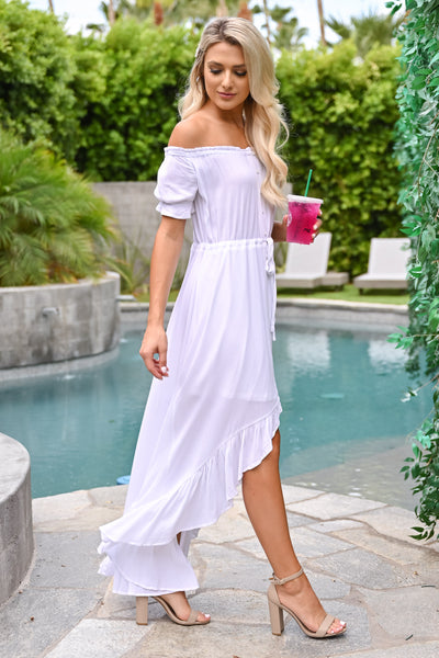 One More Time High Low Dress - Ivory womens trendy high low button down off the shoulder dress closet candy side