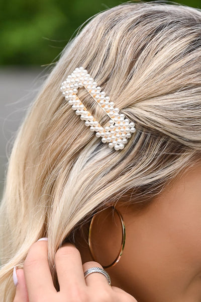 Sweet Memories Hair Clip - Pearl & Gold womens trendy hair barrette with pearl details closet candy 2