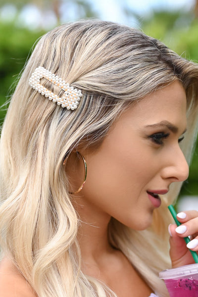 Sweet Memories Hair Clip - Pearl & Gold womens trendy hair barrette with pearl details closet candy side