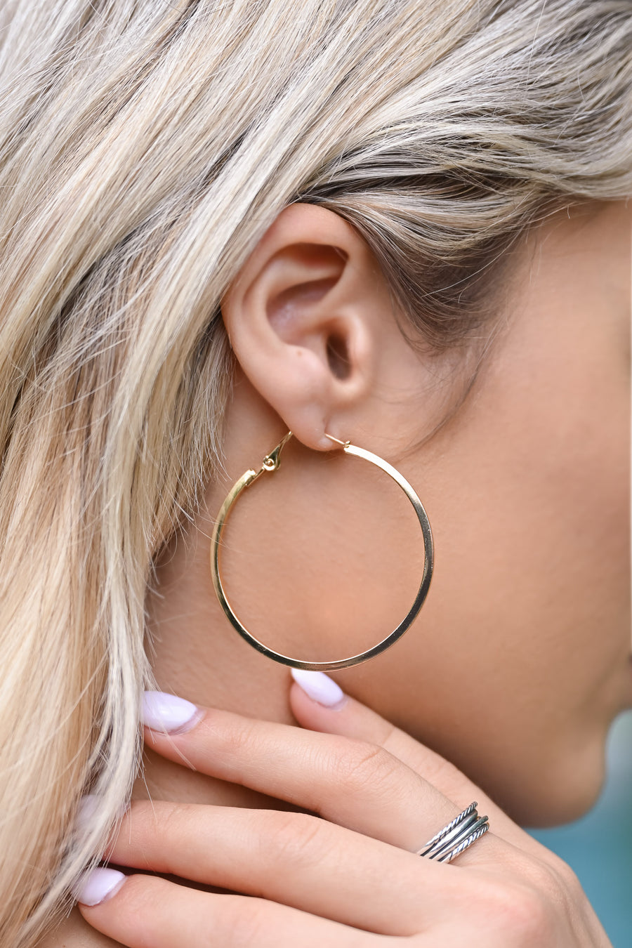 Party Time Hoop Earrings - Gold womens trendy medium hoop gold earrings closet candy side