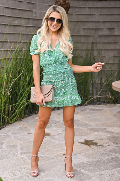 Go With It Dress - Kelly Green womens trendy short smocked mini floral dress closet candy full