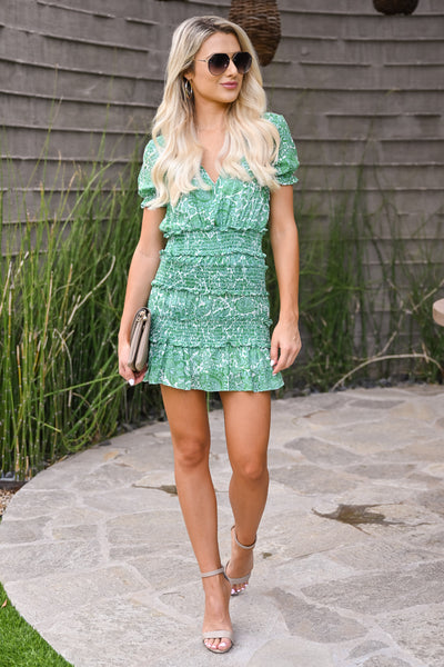 Go With It Dress - Kelly Green womens trendy short smocked mini floral dress closet candy front