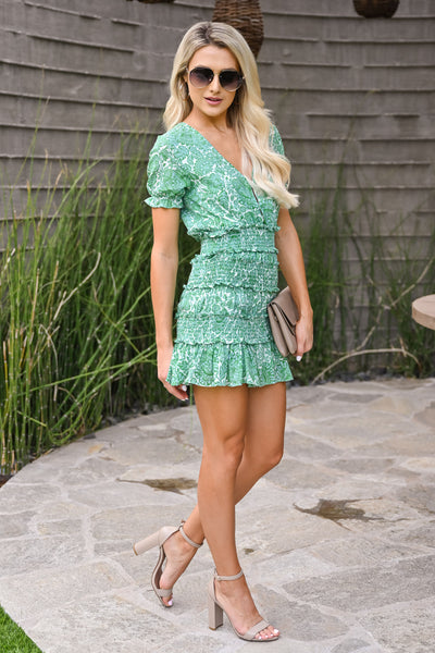 Go With It Dress - Kelly Green womens trendy short smocked mini floral dress closet candy side
