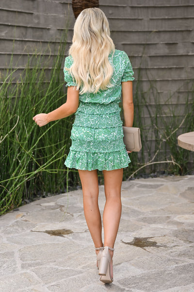 Go With It Dress - Kelly Green womens trendy short smocked mini floral dress closet candy back