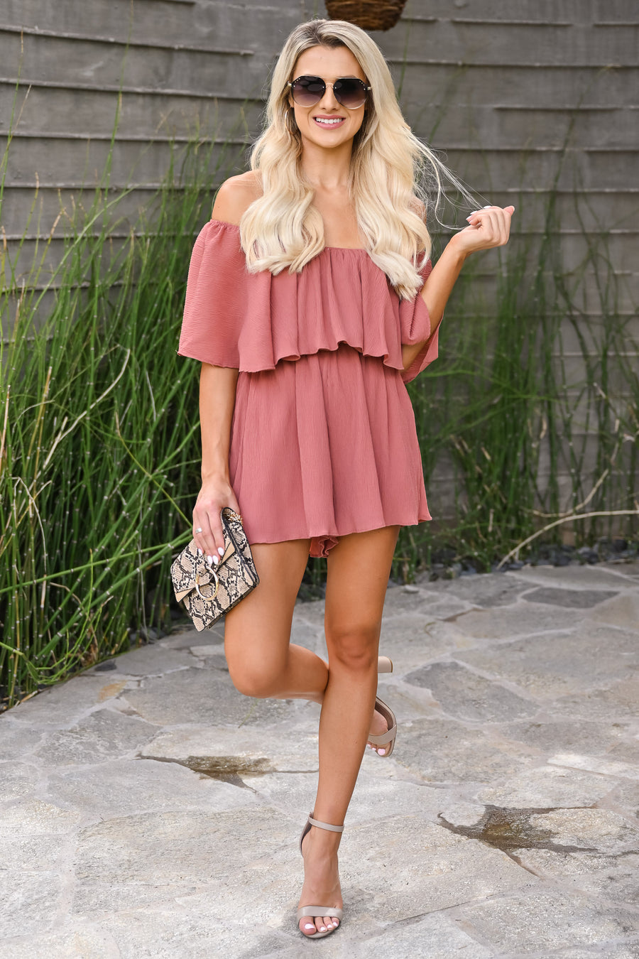 Sunrise Romper - Dusty Rose womens trendy crinkle chiffon off the shoulder ruffle front closet candy side