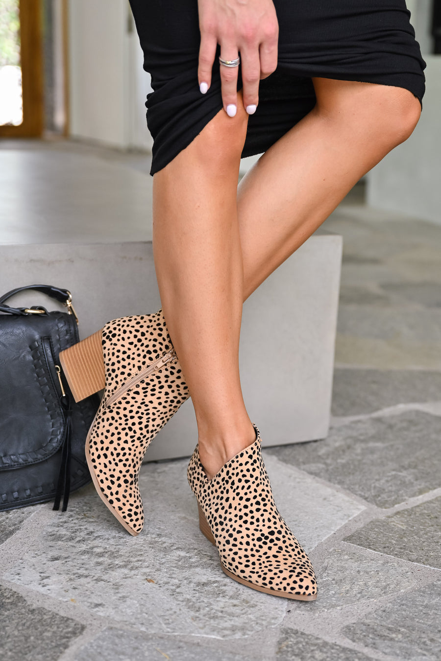 Sierra Booties - Leopard womens trendy leopard print ankle booties with side cutout closet candy side
