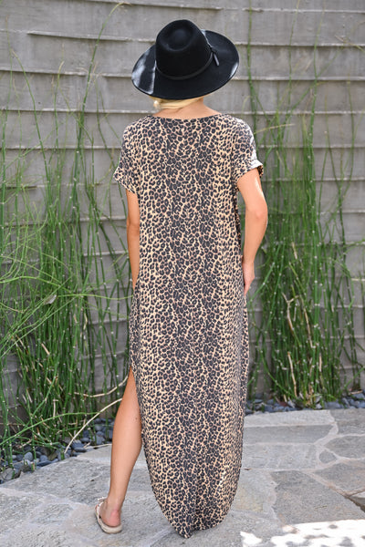 High Hopes Maxi Dress - Leopard womens trendy short sleeve v-neck leopard print long dress closet candy back