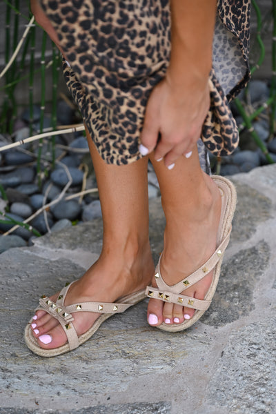 Ella Studded Bow Sandal - Natural womens trendy studded and bow slip on sandal closet candy side