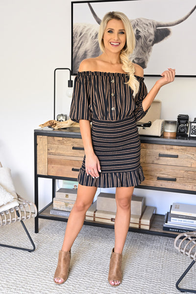 Whatever it Takes Dress - Black womens trendy off the shoulder striped smocked dress closet candy front