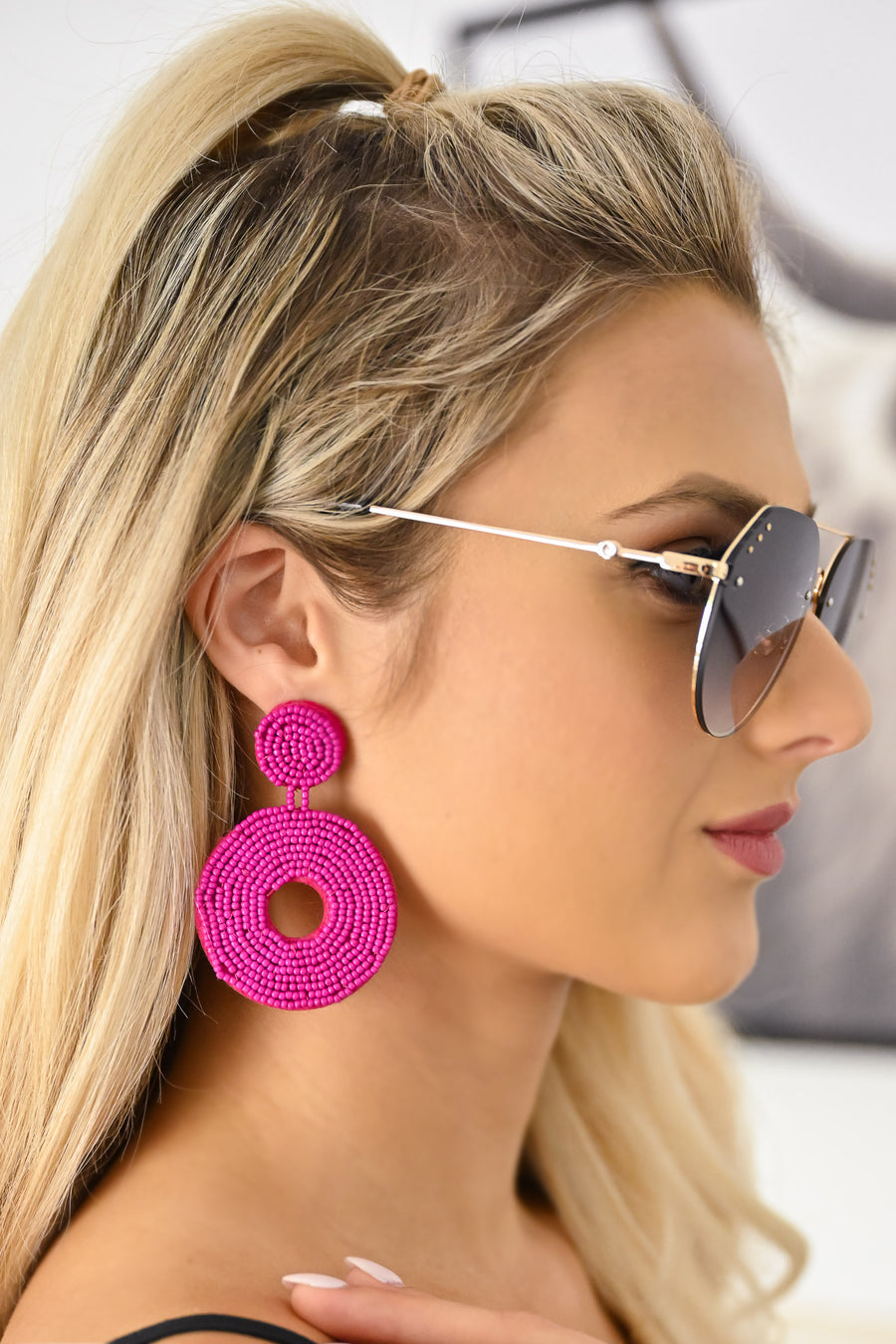 End of Time Beaded Earrings - Fuchsia womens trendy beaded circle earrings closet candy front