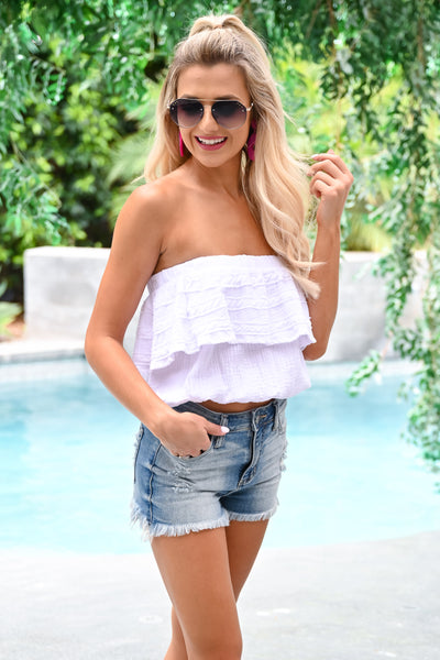 Not Over Yet Top - White womens trendy strapless tube top closet candy side