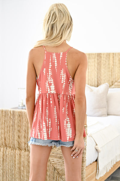 You're a Dream Tank - Creamsicle womens trendy printed baby doll tank closet candy back