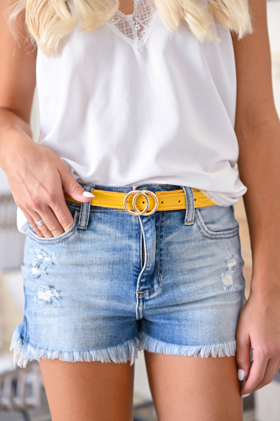 The Essentials Textured Skinny Belt - Mustard womens trendy crocodile texture skinny belt closet candy front