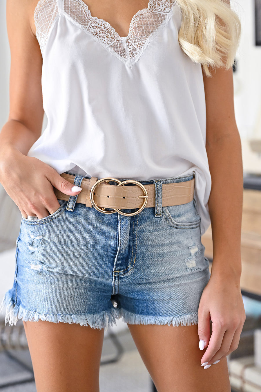 Double Trouble Belt Textured - Taupe womens trendy crocodile textured double ring belt closet candy 1