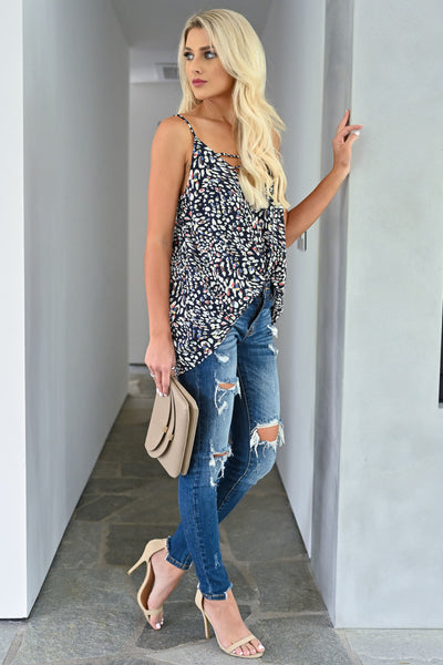 You Should Know Tank Top - Navy womens trendy multi colored leopard print strappy detail tank top closet candy side