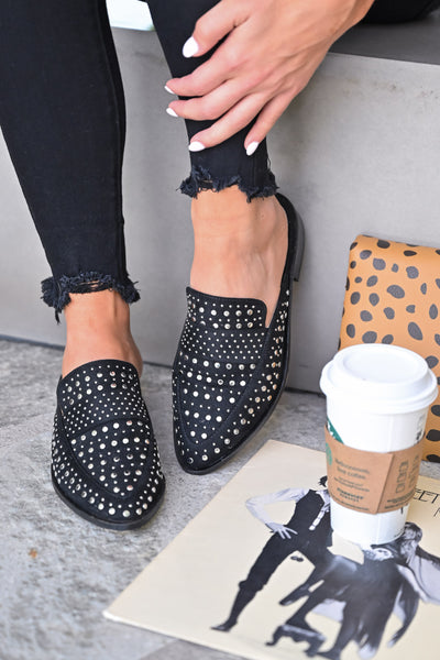 Richie Studded Mules - Black womens trendy slip on flats closet candy 3