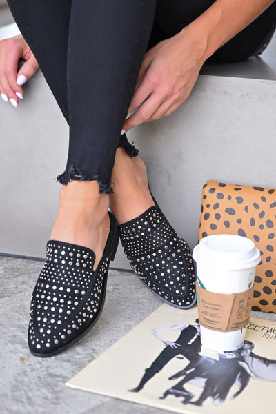 Richie Studded Mules - Black womens trendy slip on flats closet candy front