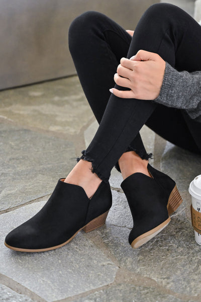 Tara Booties - Black womens trendy cutout booties with zipper back closet candy front